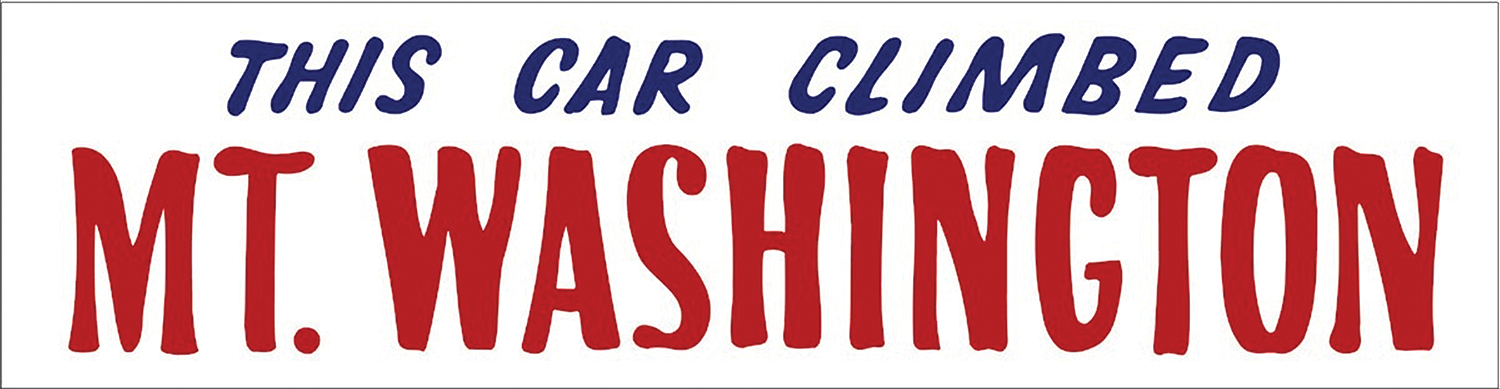 Auto Road bumper sticker this car climbed mt washington